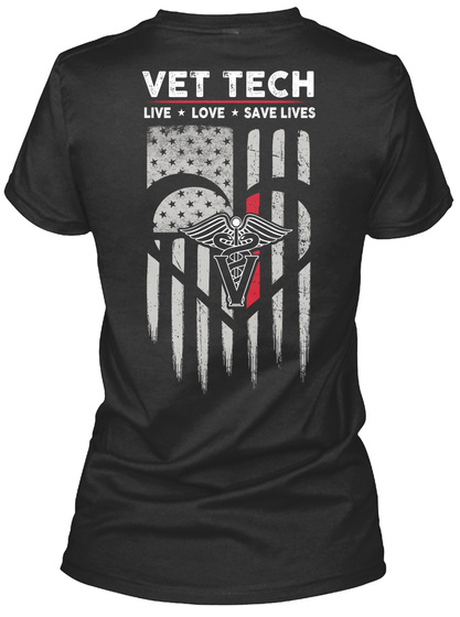 Vet Tech Live Love Save Lives Black Women's T-Shirt Back