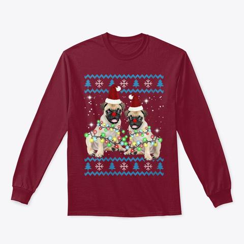Pug Ugly Christmas Shirt Cute Pug Dog Cardinal Red T-Shirt Front