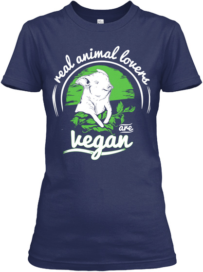 Real Animal Lovers  Are Vegan Navy Women's T-Shirt Front