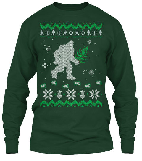 Ugly Holiday Bigfoot Christmas Sweater Forest Green Long Sleeve T-Shirt Front
