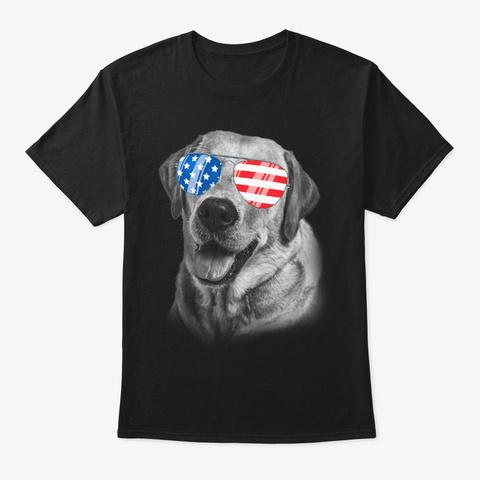 4th July Gifts Vintage Patriot Labrador Black T-Shirt Front
