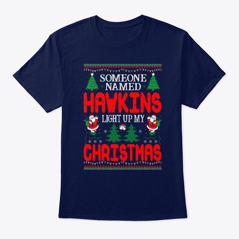 Named Hawkins Light Up Christmas Navy T-Shirt Front