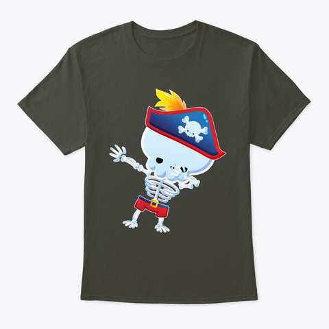 Dabbing Pirate Skeleton Halloween Smoke Gray T-Shirt Front
