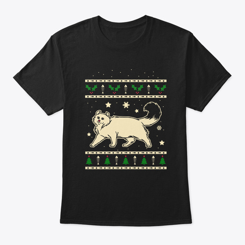 Christmas American Curl Gift Black T-Shirt Front