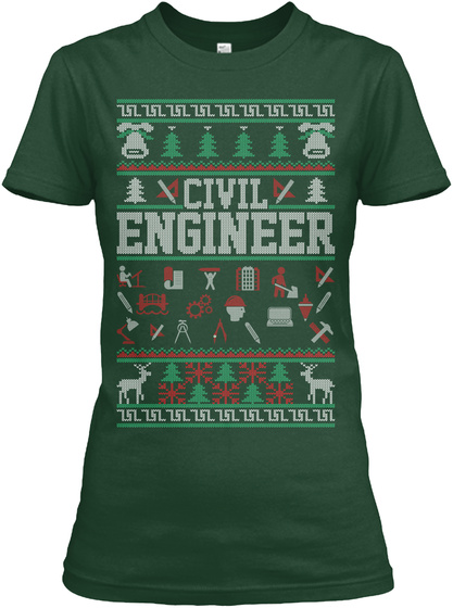 Civil Engineer Forest Green T-Shirt Front