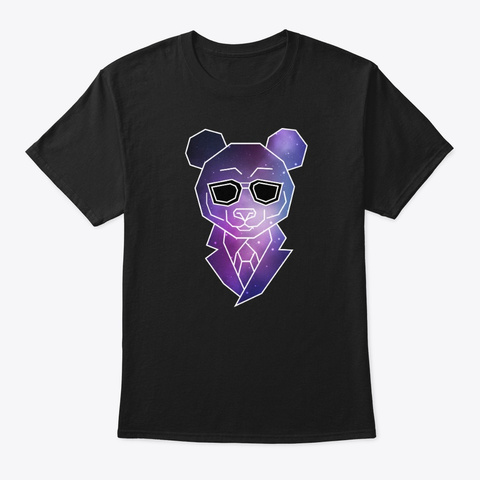 Geometric Hipster Panda Bear | Low Poly Black T-Shirt Front