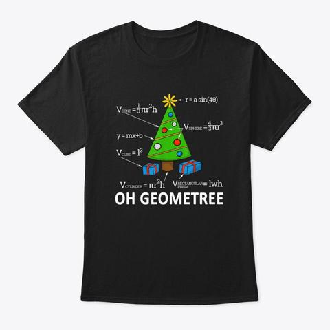 Math Geometry Christmas Tree Geometree Black T-Shirt Front