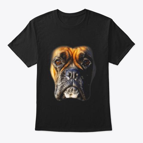 Animal Lover Gift Boxer Face Funny Dog Black T-Shirt Front
