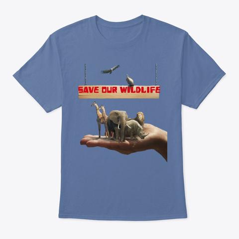 Palm Of Hand Animals Denim Blue T-Shirt Front