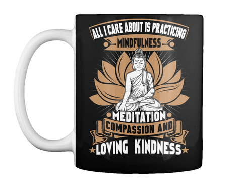 Mindfulness Meditation Mugs Black T-Shirt Front