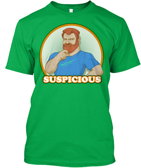 Suspicious Bright Green T-Shirt Front