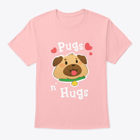 Pugs And Hugs   Cute Pastel Art Pale Pink T-Shirt Front