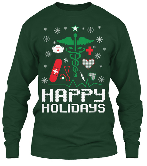 Happy Holidays Forest Green T-Shirt Front