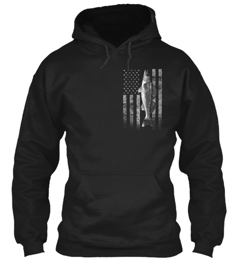 Real Walleye Fishing Flag  Black Sweatshirt Front