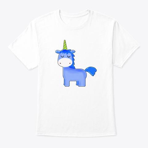 Blue Unicorn White T-Shirt Front