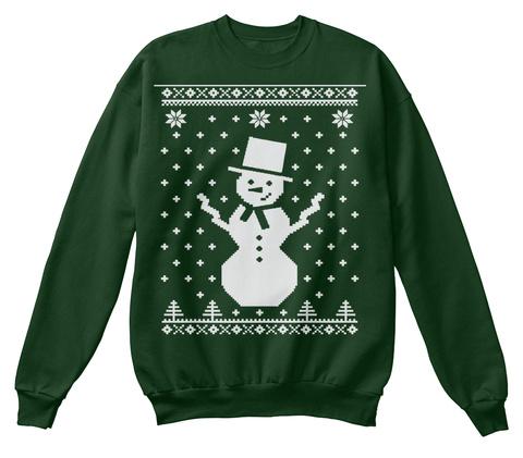 Children Big Snowman Ugly Christmas Swea Deep Forest  T-Shirt Front