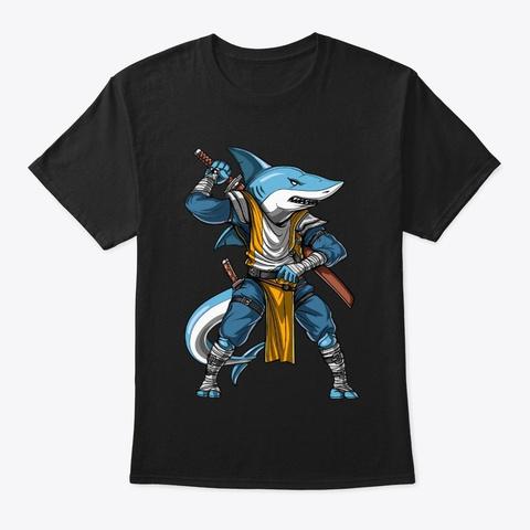 Shark Samurai Ninja Black T-Shirt Front