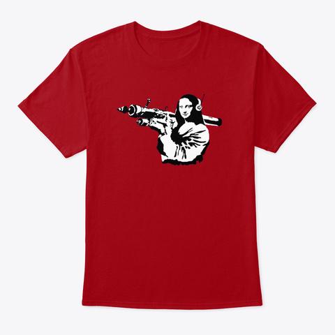Banksy Mona Lisa Rocket Launcher Deep Red T-Shirt Front