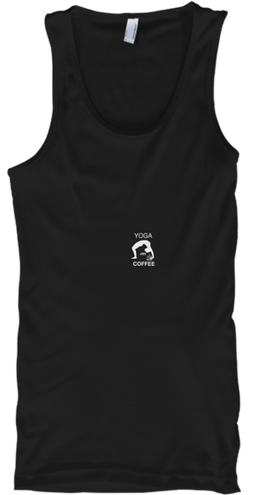 Yoga And Coffee Black T-Shirt Front