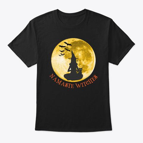 Namaste Witches Funny Yoga Meditation Black T-Shirt Front