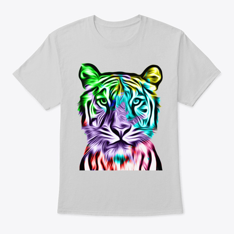Colorful Tiger Head Light Steel T-Shirt Front