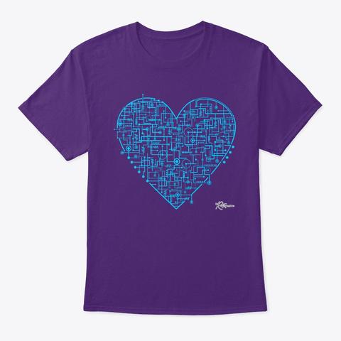 Technological Love Online Heart Design Purple T-Shirt Front