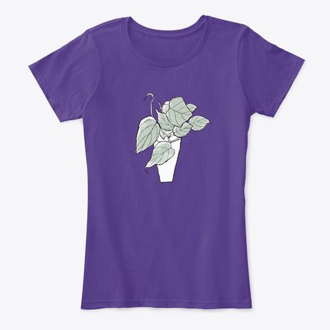 Philodendron Micans Aroid Houseplant Art Purple T-Shirt Front