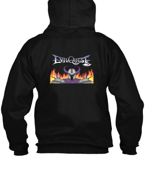 Evil Quest/Chaosoft Games Zippered Hoodie Black T-Shirt Back