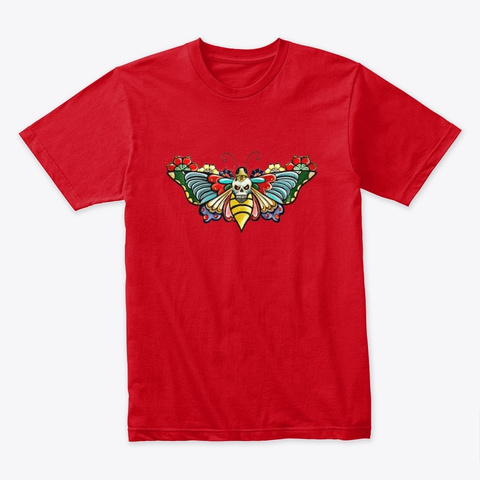 Skull Butterfly   Awesome Red T-Shirt Front