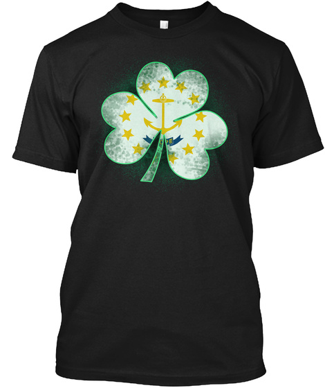 Rhode Island Clover: St Patrick's Day Black T-Shirt Front