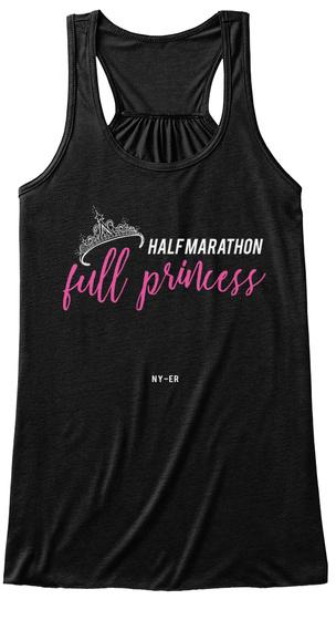Half Marathon, Full Princess Black T-Shirt Front