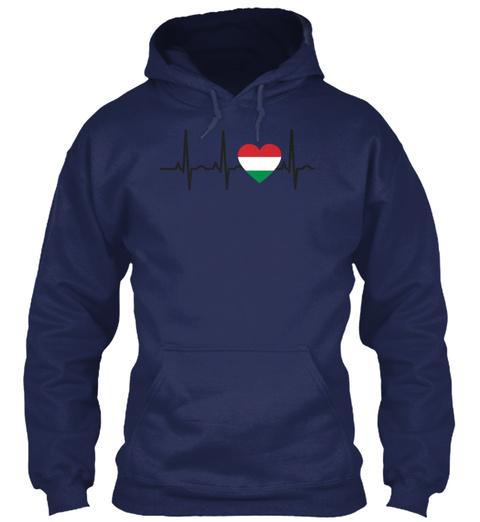 I Love Ekg Heartbeat Ungarn Hungary Navy T-Shirt Front