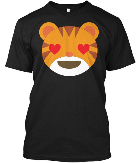 Tiger Emoji Love And Heart Eyes Black T-Shirt Front