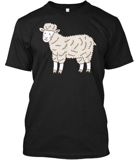 Cute Sheep Funny Art Shirts Black T-Shirt Front