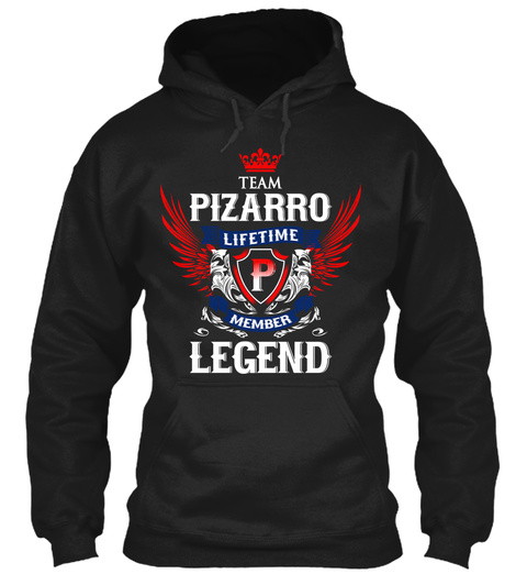 Team Pizarro Lifetime Member Legend Black T-Shirt Front