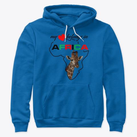 My Heart Belongs In Africa   Giraffe True Royal T-Shirt Front