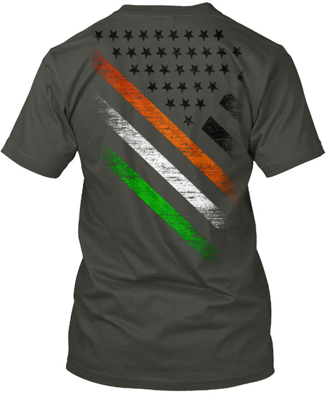 Ireland Usa Black Flag Smoke Gray T-Shirt Back