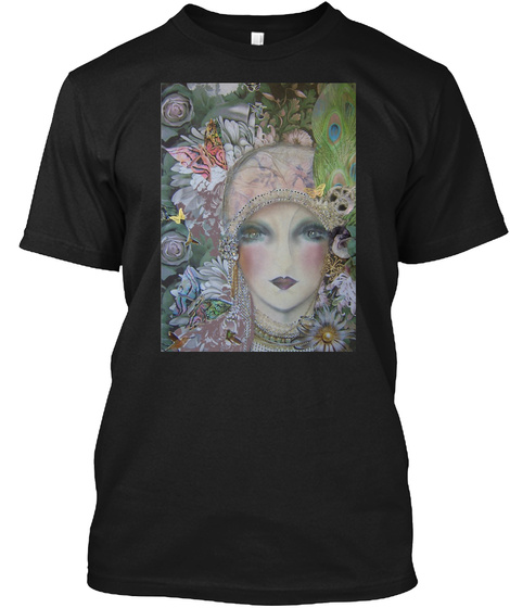 Original Art Deco Floral Flapper, Tapest Black T-Shirt Front