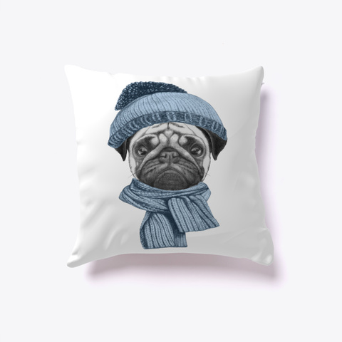 Cut Pug Pillow Pug With Hat And Scarf White T-Shirt Front 9796895ddd4