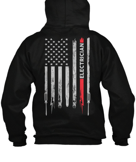 Electrician Zipper Hoodie Xmas Spl Black T-Shirt Back