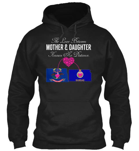 Mother Daughter   North Dakota Kansas Black T-Shirt Front