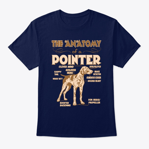 The Anatomy Of Pointer Navy T-Shirt Front