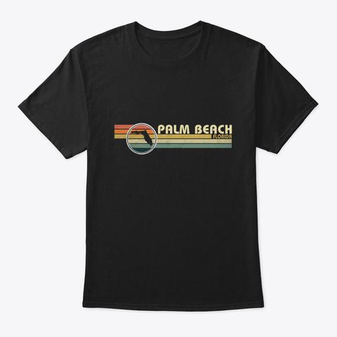 Florida   Vintage 1980 S Style Palm Beach Black T-Shirt Front