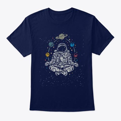 Astronomer Yogi Meditation Astronaut T S Navy T-Shirt Front