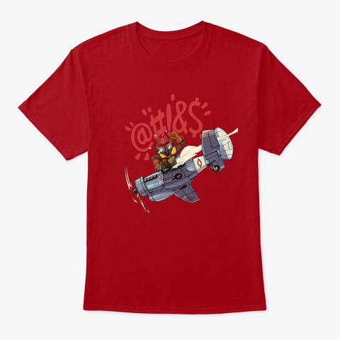 Hole In Left Wing Deep Red T-Shirt Front