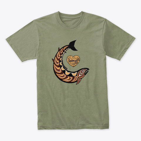 Pacific Northwest Salmon Light Olive T-Shirt Front