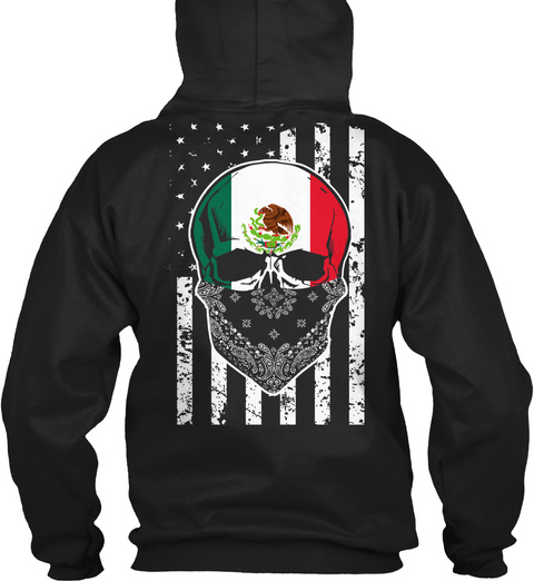 Cool Mexican Skull + American Flag Black T-Shirt Back