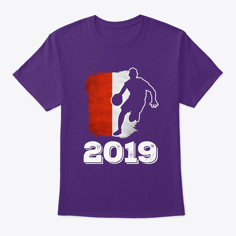 Poland Flag Basketball 2019 Tee Purple T-Shirt Front