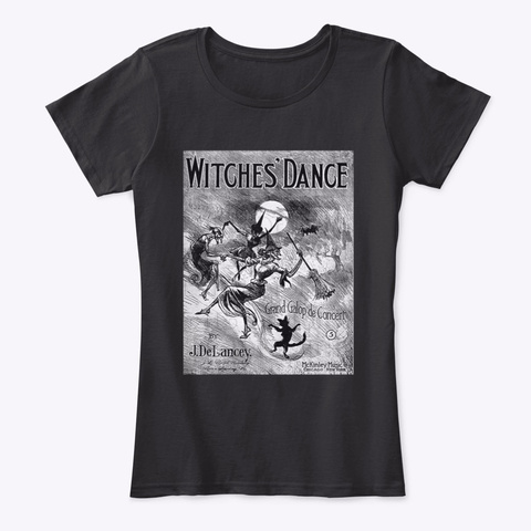 Witches' Dance Goth Horror Salem Black T-Shirt Front