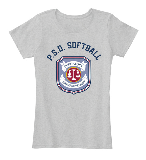 P. S. D. Softball Purgatory Sheriff Department Light Heather Grey T-Shirt Front